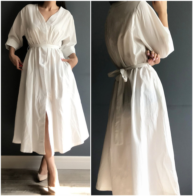 Colorfaith New 2021 Women Dresses Spring Summer Cotton and Linen Elegant Pleated Long White Dresses V Neck Lace Up Bow DR1086 3
