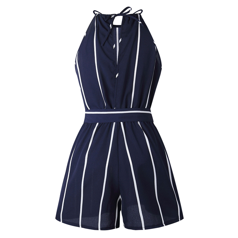 Playsuits Summer Short Overalls Woman Striped Short Sleeve+Shorts Jumpsuits New Fashion Office Ladies Beach Boho Tops And Pants