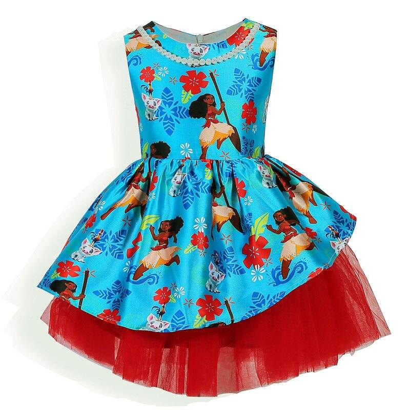 где купить  New Girls Dress Moana cartoon Princess Dress Children Clothing Pearl Party Costume Clothes Infant Kids Sleeveless Ocean Dress  по лучшей цене