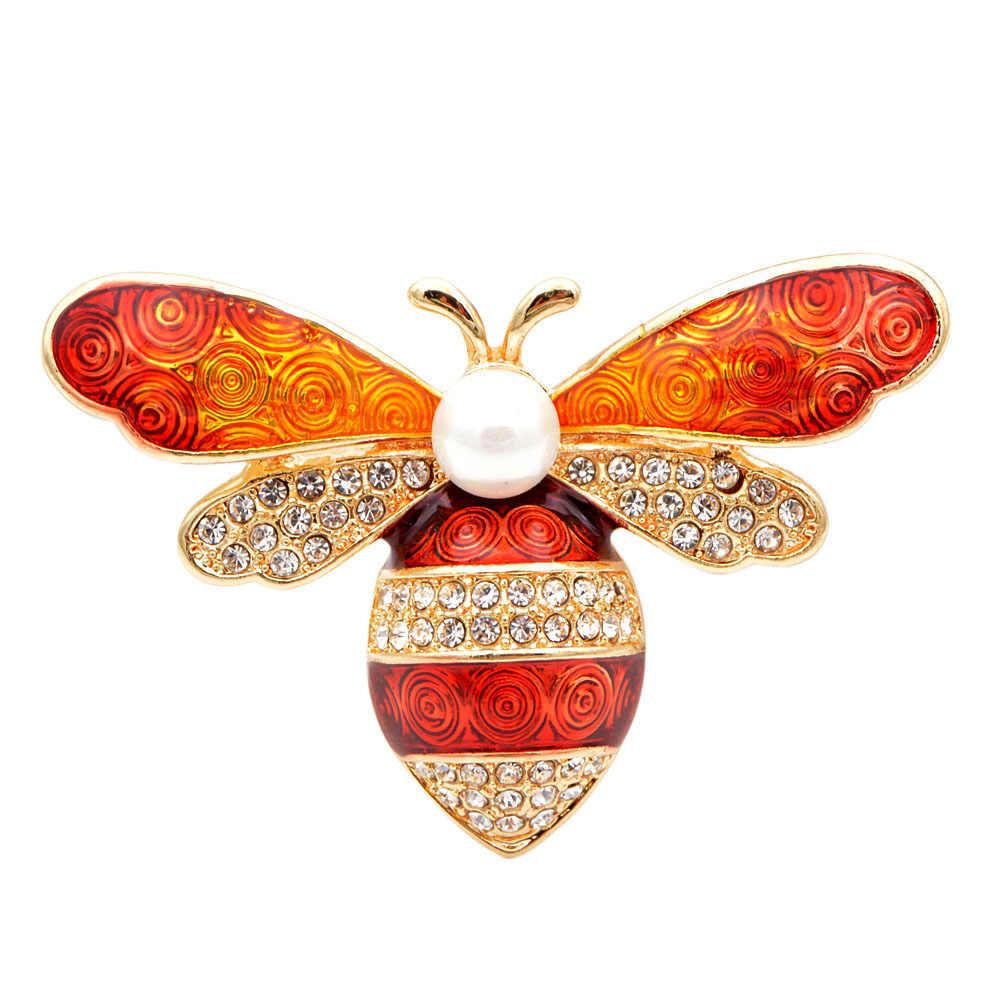 Cindy xiang 3 cores disponíveis strass colorido abelha broches para mulher esmalte inseto abelha broche pino bolsa pendurado presente