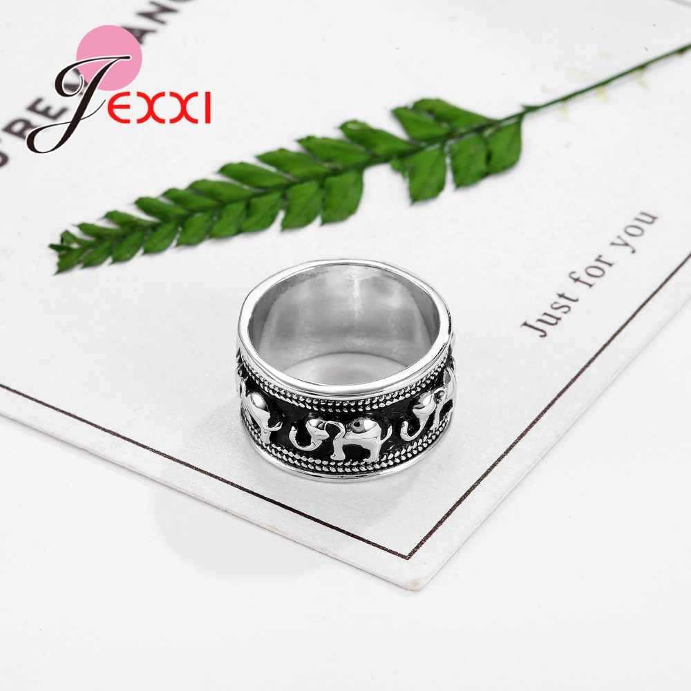 Vintage Hitam dan Putih 925 Sterling Silver Perhiasan Gaya Sederhana Bentuk Gajah Pertunangan Cincin untuk Pria Wanita Tuhan Pernikahan