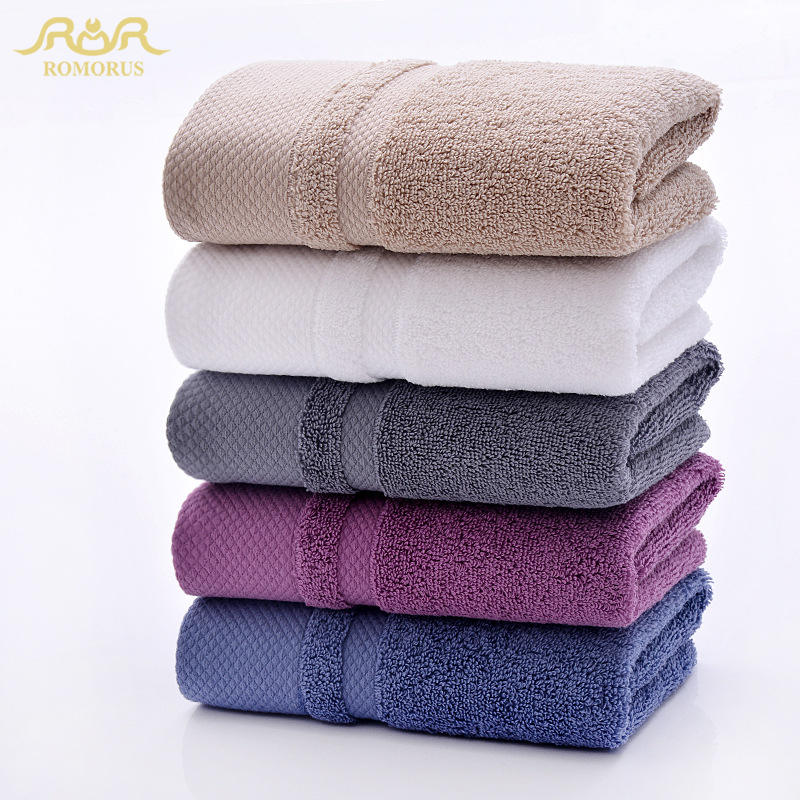 ROMORUS Egyptian Cotton Large Bath Towel Solid Color Bathroom Soft Terry Face Towels Thick Set for Adults Super Absorbent