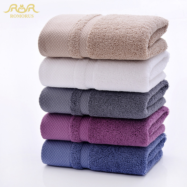 ROMORUS Egyptian Cotton Large Bath Towel Solid Color Bathroom Soft Terry Face Towels Thick Towel Set for Adults Super Absorbent