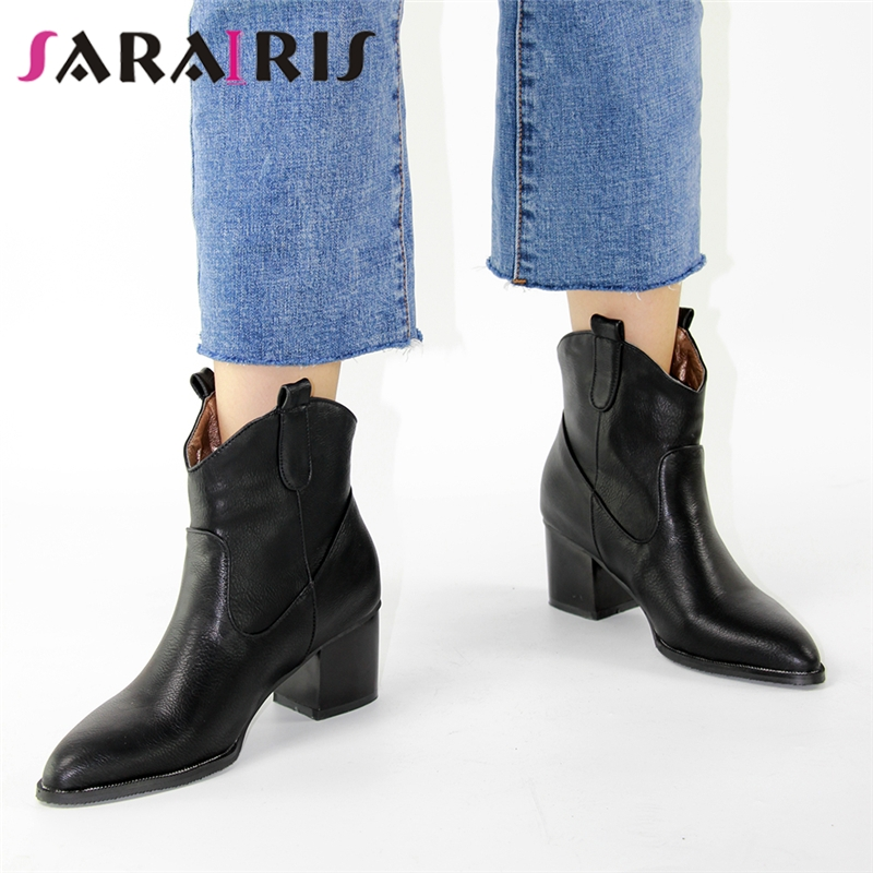 SARAIRIS Plus Size 32-48 Slip-On Retro Black Booties Woman Winter Autumn Western Boots Women 2019 Ankle Cowboy Boots Shoes Woman