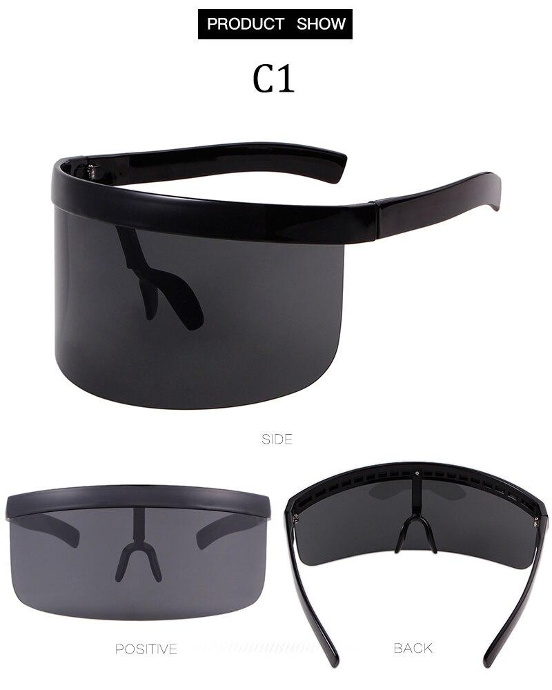STORY 2018 Vintage One Piece Sunglasses Women Brand Big Frame Mask Glasses  Huge Oversized Sunglasses Men Windproof Black Shades 6989e9875