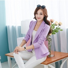 Korean Fashion Blazers Slim Plus Size 2017 Spring Candy Color Blazer Short Lotus Leaf Small Suit For Women Famous Brand