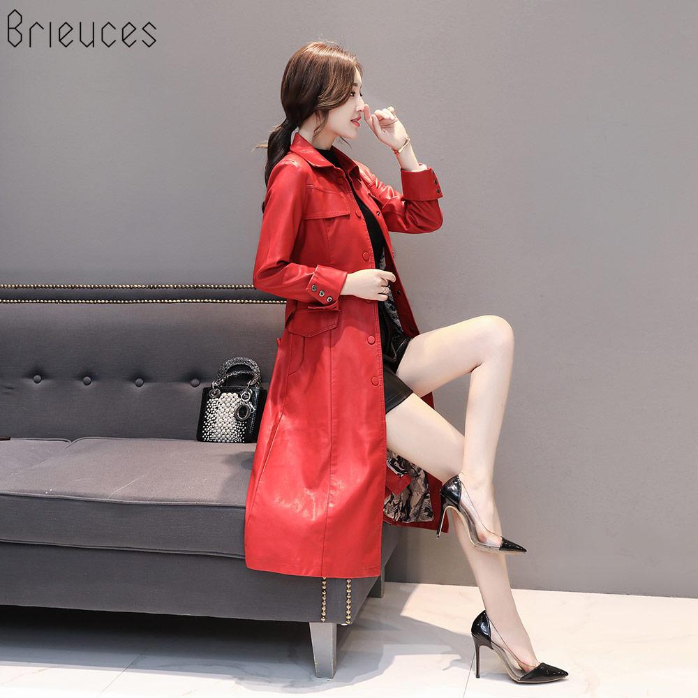 Poitrine D'hiver Unique Femmes 2018 Veste Nouveau 5xl army Manteau Automne Femelle Taille rouge En Noir Plus Cuir Mode Longue Tranchée La Faux Green qvPqtI