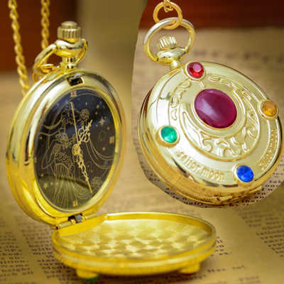 (1075) NEW Gold Tone Strass Cartoon Sakura Anime Sailor Moon Orologio Da Tasca, Dia 4 cm