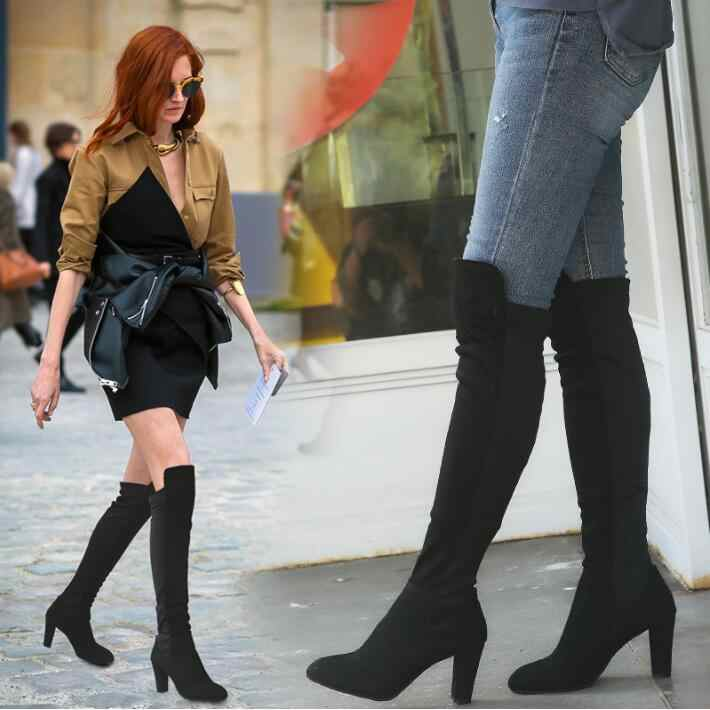 cc041eec021 Size 34-43 2018 Fashion New Shoes Women Boots Black Red Over The Knee Boots