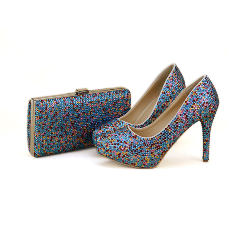 2018 Handmade Blue Mix Color Crystal Cinderella Prom Party Shoes with Clutch  Luxury Crystal Wedding Party High Heels with Bag-in Women s Pumps from Shoes  on ... dfd4d2113dfa
