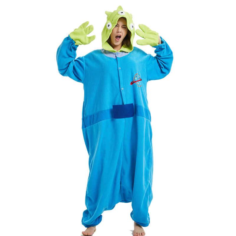 Синий чужой флис кигуруми косплэй взрослый костюм маленький зеленый человек  Пижама-комбинезон с героями мультфильмов 3d366453b2f5d
