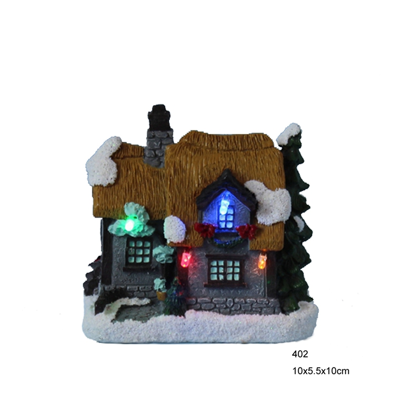 4 polyresin christmas decoration house with led christmas for Decoration 4 christmas