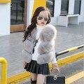 Macio de alta Qualidade Fox Colete De Pele para as meninas Criança da Pele Do Falso Crianças colete Faixa de Pele Casaco De Pele Outwear Moda Sólida Com Decote Em V Meninas Top