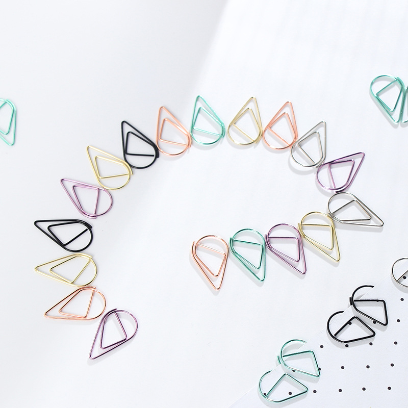 Small Meduim Black Purple Green Rose Gold Color Water Drop Metal Paper Metal Clips Cute Bookmark Holder School Office Supplies