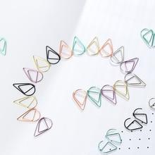 Купить с кэшбэком samll 2.5x1.6cm purple green rose gold color Water drop metal paper metal clips cute bookmark holder school office supplies