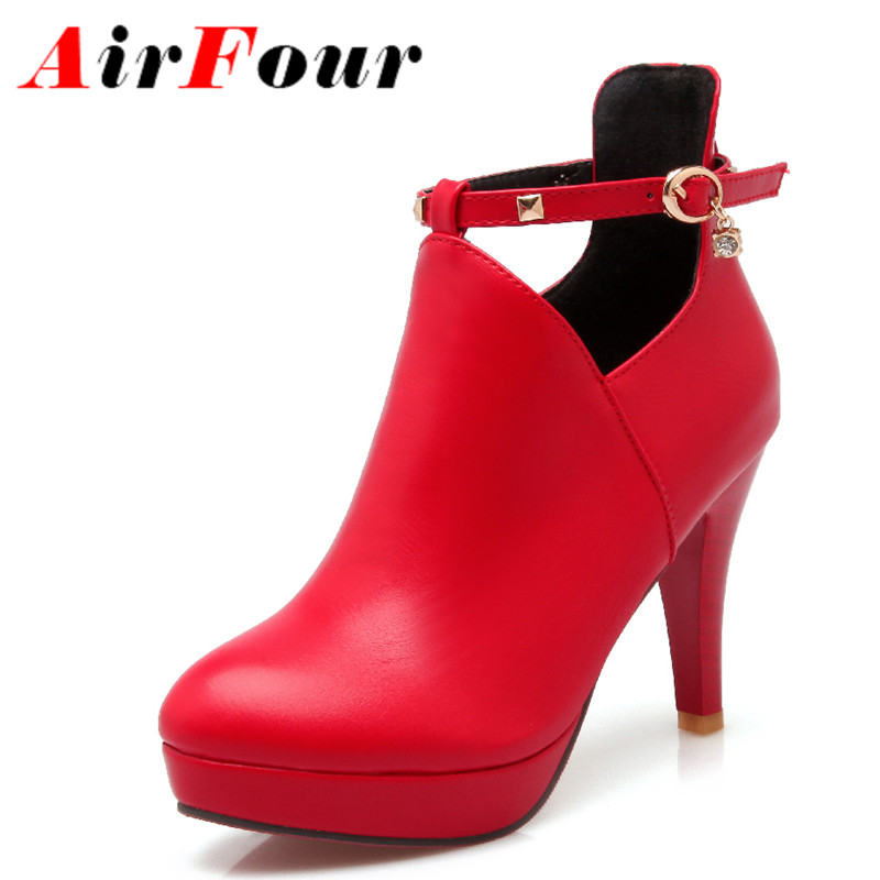 ФОТО Airfour High Heels Round Toe Buckle Strap Rhainstone Platform Shoes Woman Large Size 34-43 Ankle Boots for Women Winter Boots