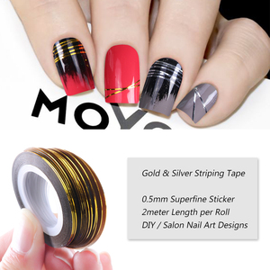 Image 2 - 0.5mm Nail Striping Tape Line Silver Gold Laser Adhesive Holo 3D Sticker Decor DIY Strips Nail Polish Accessories Tool LA1009 1