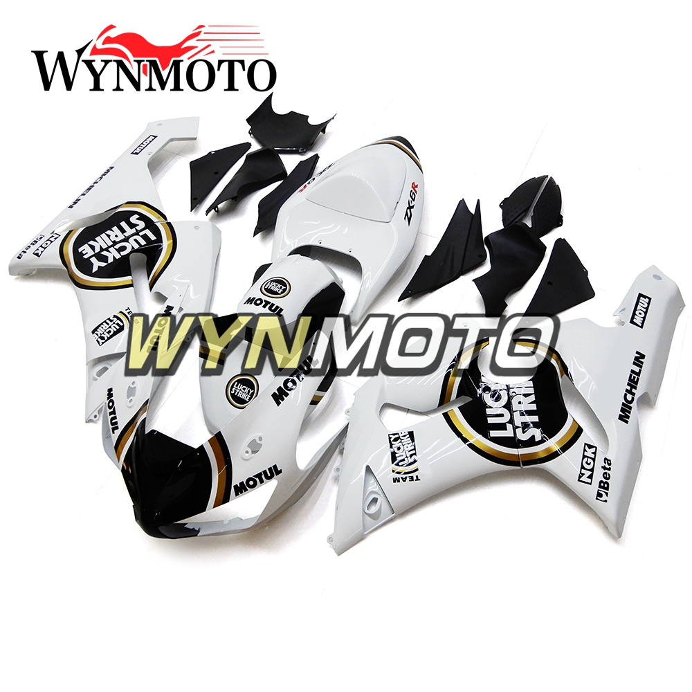 Full Black White ABS Injection Fairings For Kawasaki ZX-6R ZX6R 636 2005 2006 Motorbike Fairing Kits Cowlings
