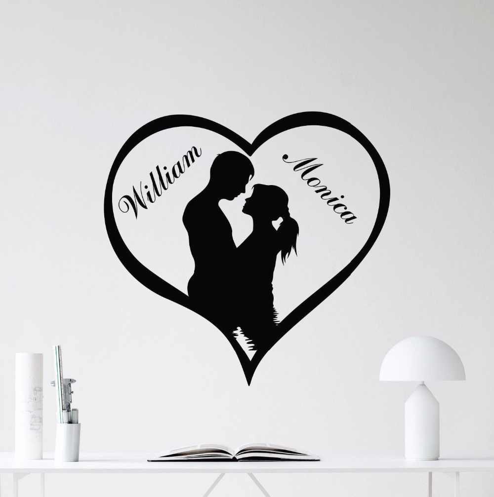 Custom Names Love Heart Wall Decal Removable Loving Personalized Vinyl Sticker Mural Couples Love Wallpaper Home