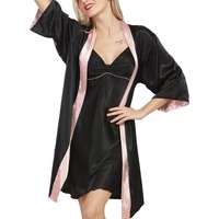 Newest Ladies Robe Gown Set 2018 New Designer Silky Women Bathrobe Dressing Gown 2 Pcs Suit