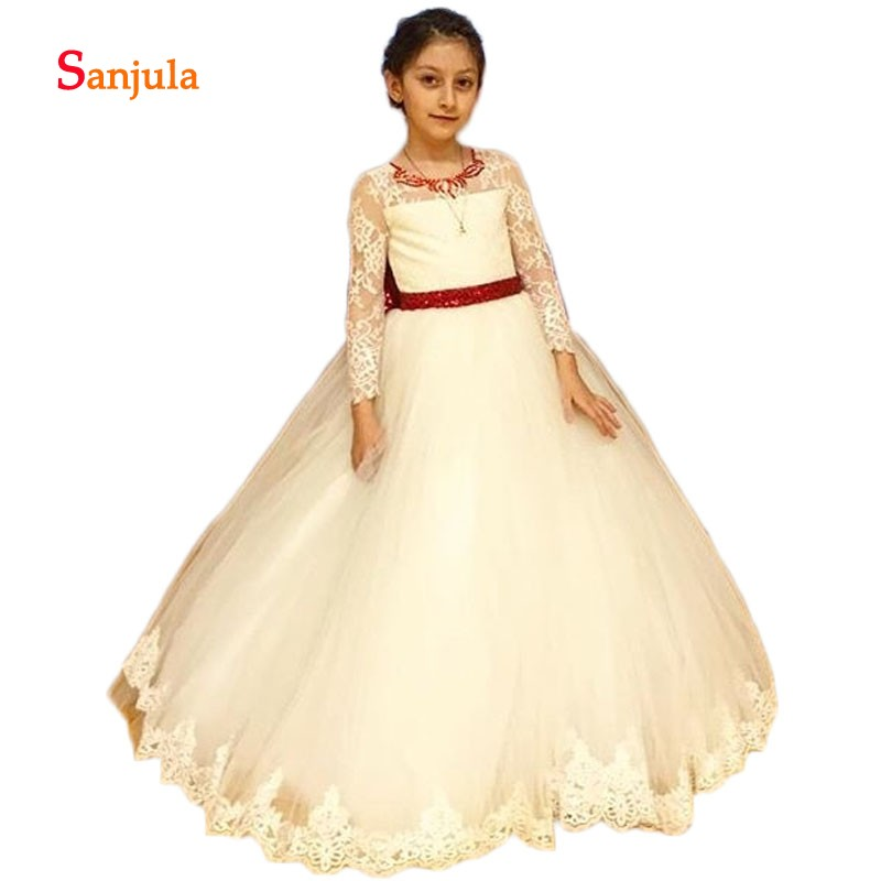 Ivory Tulle Ball Gown   Flower     Girls     Dresses   Red Beaded Neck Sequins Gorgeous Party   Dress   for Kids Back Bow First Communion D594