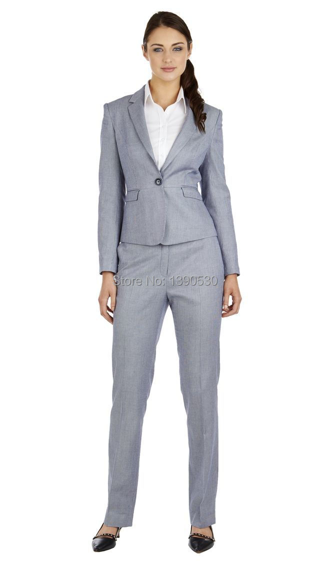 Blue Notched Lapel Single-breasted Ladies Suits Business Work Wear Custom Made Two Buttons Long-sleeved Womens Suits & Sets jacket+pants