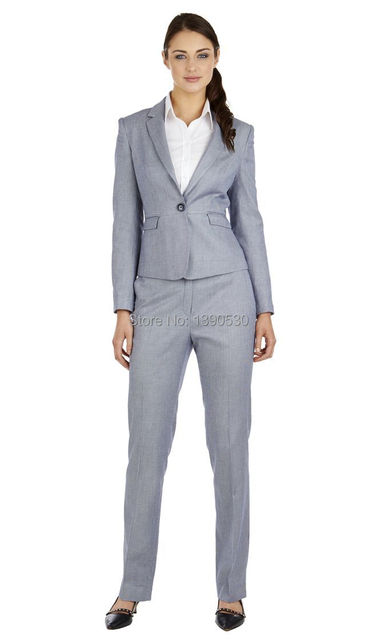 2016 novo estilo custom made 100% lã cinza claro notch lapela um botão mulheres calças de trabalho suits ( jacket + pants )
