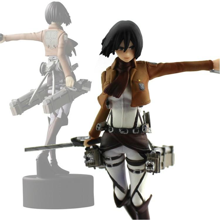 Attack On Titan Mikasa Ackerman PVC Action Figure Toy Doll 14CM Free Shipping lis 15cm attack on titan figma 203 mikasa ackerman 6 pvc action figure collection model toy