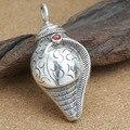 Atacado s925 prata esterlina jóias retro thai prata personalidade auspicioso oito tesouro concha camisola corrente pingente