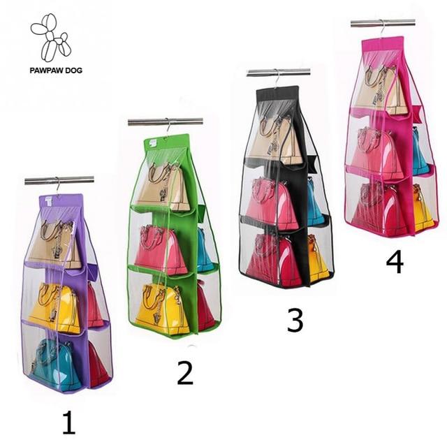 6 Pockets Hanging Storage functional Bag Purse Handbag Tote Organizer  Closet Rack Hangers 4 Color b569b15ac83d6