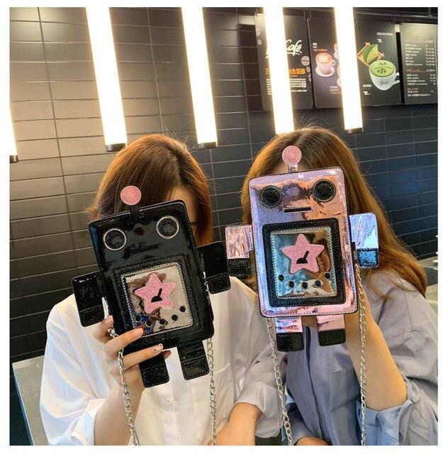 クリエイティブレーザーロボットカラフルな女性のための女性の人格デザインチェーンクロスボディバッグレディース夏電話財布バッグ