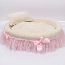 Free shipping warm kennel White dog bed Pink lace Soft and comfortable pet nest Coral velvet surface for easy cleaning