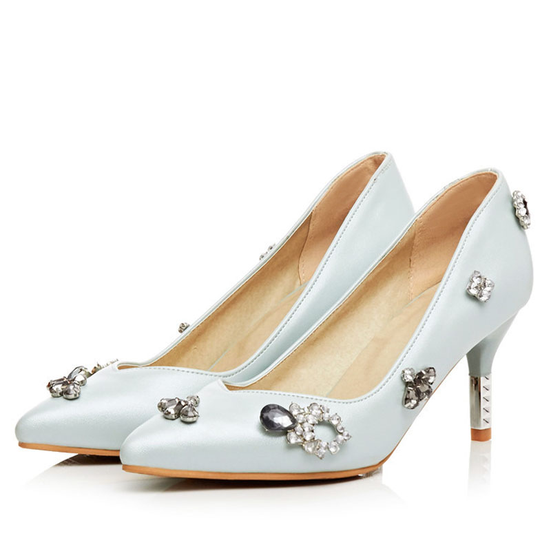 Newest Pointed Toe Rhinestone Style 2016 Spring Sexy Thin High heeled Pumps High Quality Pink Blue