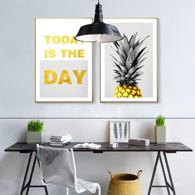 New Yellow Gold Pineapple Nordic Canvas Painting Posters Nursery ...
