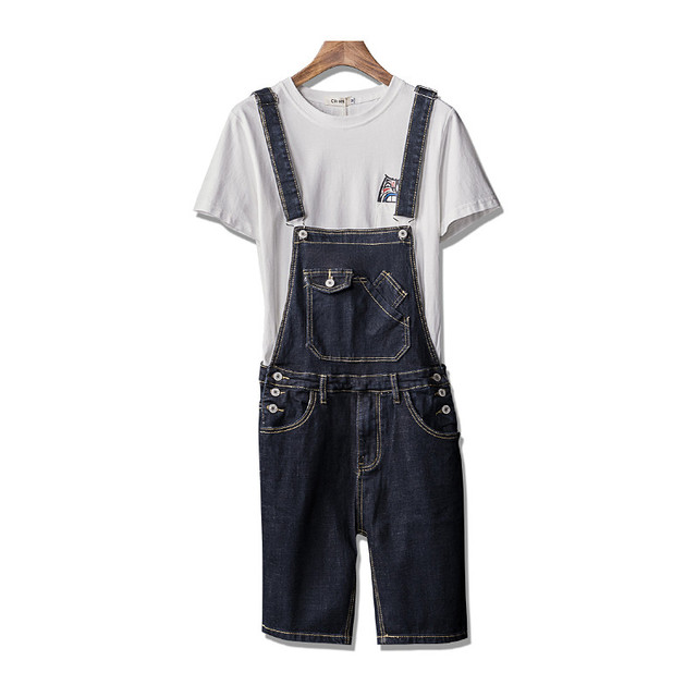 bcc2f473b4 MORUANCLE Men Summer Bib Overall Shorts Fashion Short Suspender Pants For Man  Jumpsuits Rompers Plus Size S-5XL Knee Length