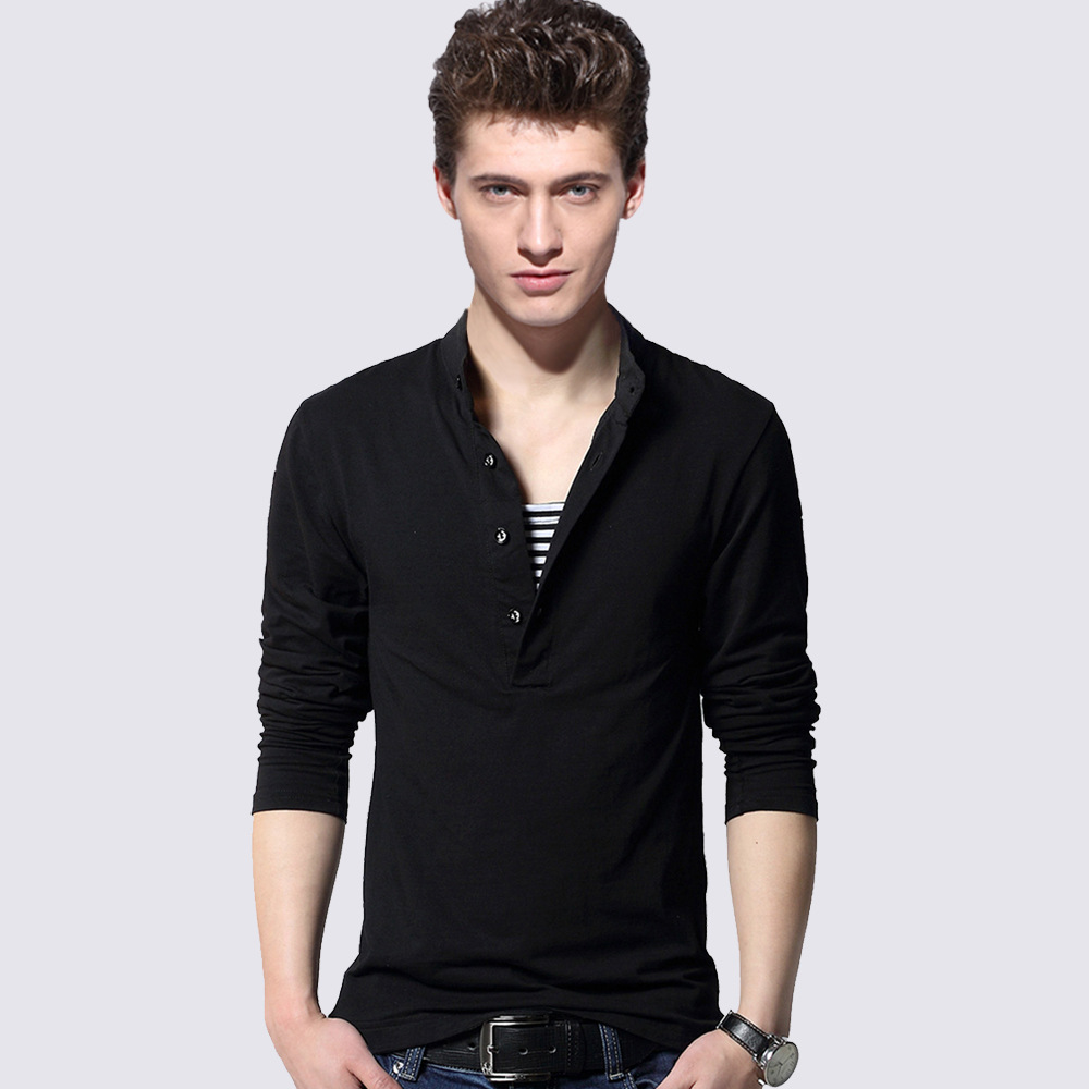 Icpans   Polo   Shirt Men Long Sleeve Slim Casual Cotton Fashion   Polo   Shirt Men Black Tee Tops 2018 New Plus Size 3XL 4XL 5XL