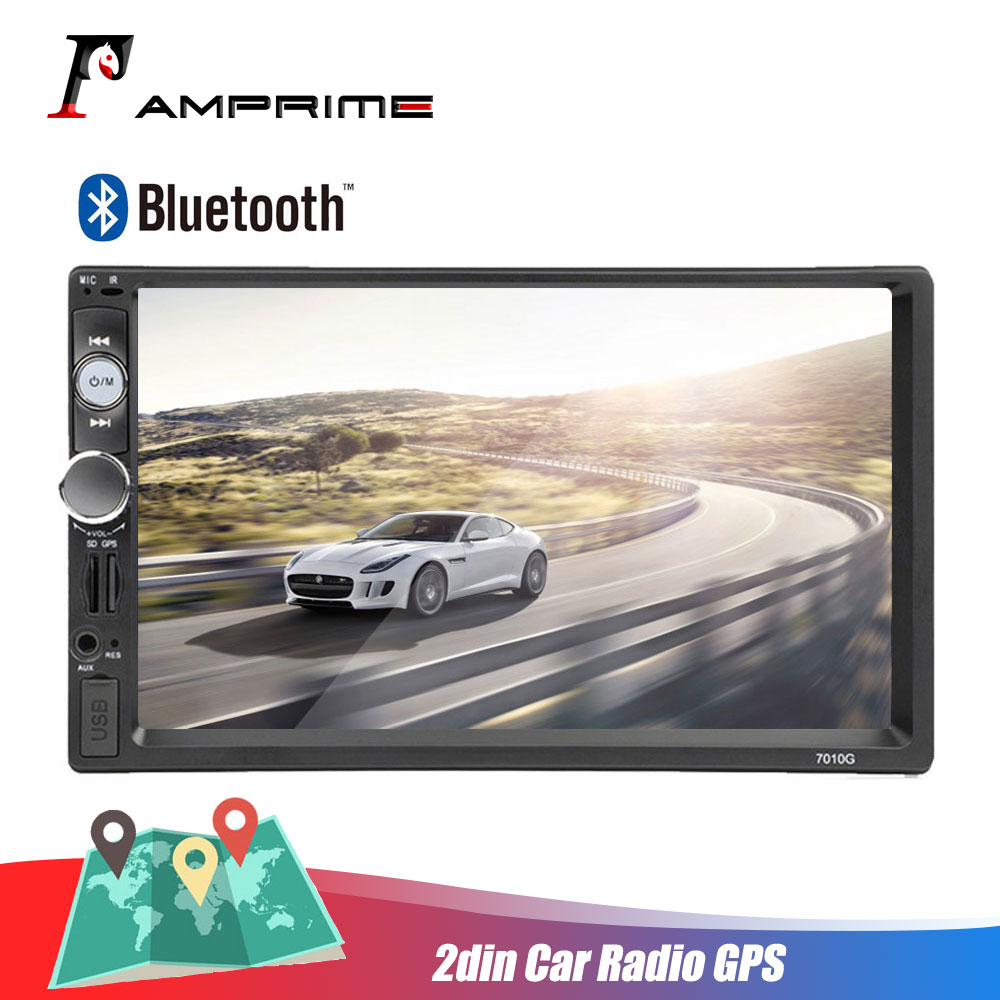 AMPrime autoradio 2din Car Radio GPS Navigation Bluetooth Car Multimedia MP5 Player FM Audio Stereo Auto Electronic 7010G Camera
