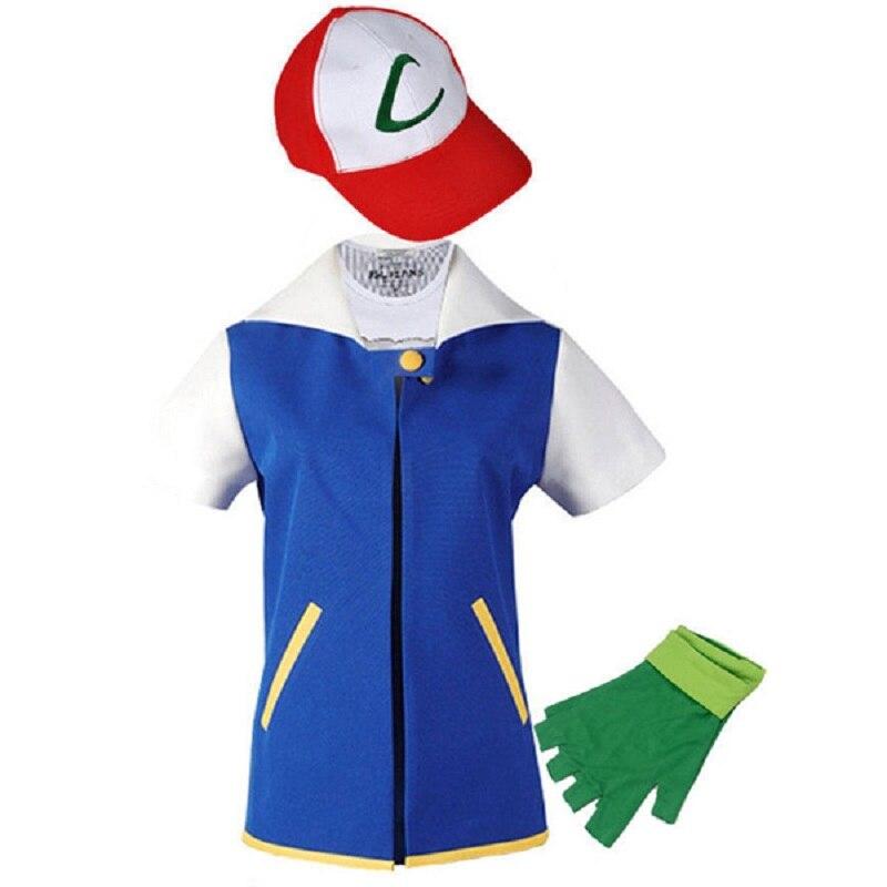 Halloween Costumes 2019 New Anime Pocket Monster Pokemon Cosplay Ash Ketchum Cosplay Costume Blue Jacket Hat Gloves Full Set