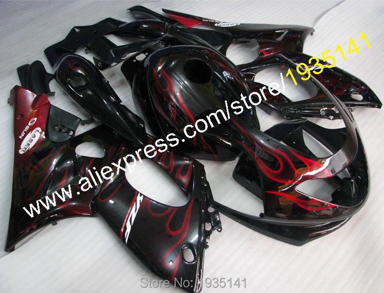 Горячие продаж, для YAMAHA Yzf600R Громокошку 1997~2007 красное пламя черный комплект кузова и YZF-600р мотоцикл обтекатель части 97~07 и YZF 600р
