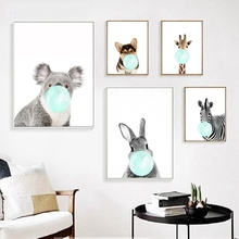 Sky Blue Picture Giclee Print Nordic Poster Pink Cute Animal Blow Bubbles Canvas Painting for Nursery Kid Room Wall Decor Custom