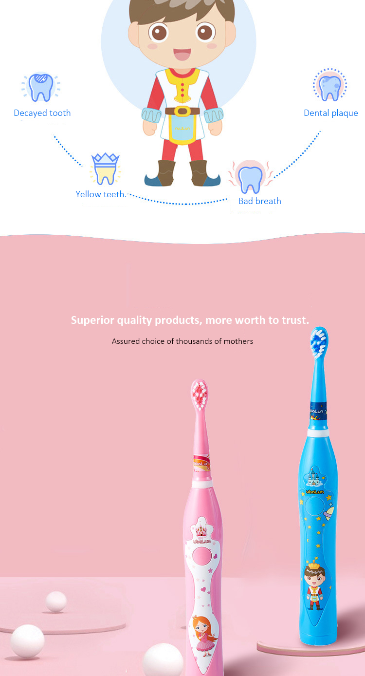 Horoshop Battery Powered Electric Toothbrush with Extra Soft Bristles for Children and Toddlers with Extra 2 Replaceable Brush Heads Pink