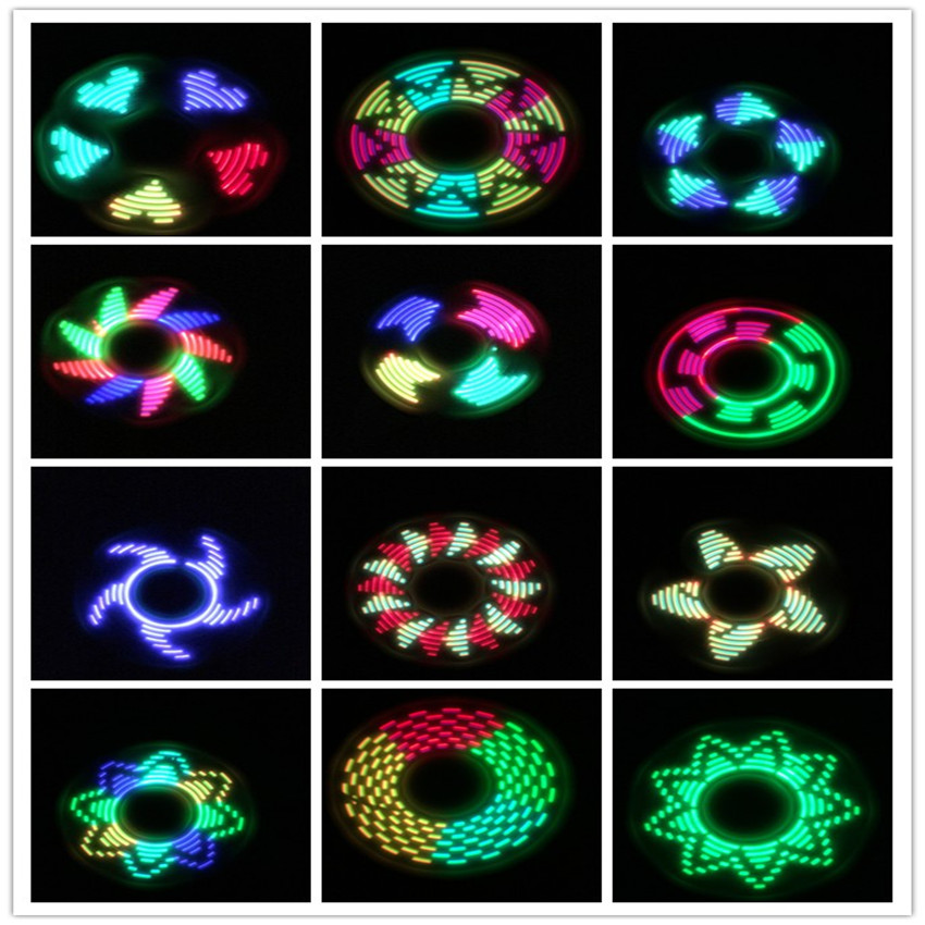 Us 3 28 31 Off 1 Pc Led Creative Shiny Metal Fidget Spinner With Graphic Patterns Led Lights Antistress Light Up Finger Flgit Spinner Toys Gyro In