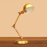 Новые творческие американской моды ретро Коромысла Настольная лампа бронза прикроватная тумбочка для спальни исследование отель непосред