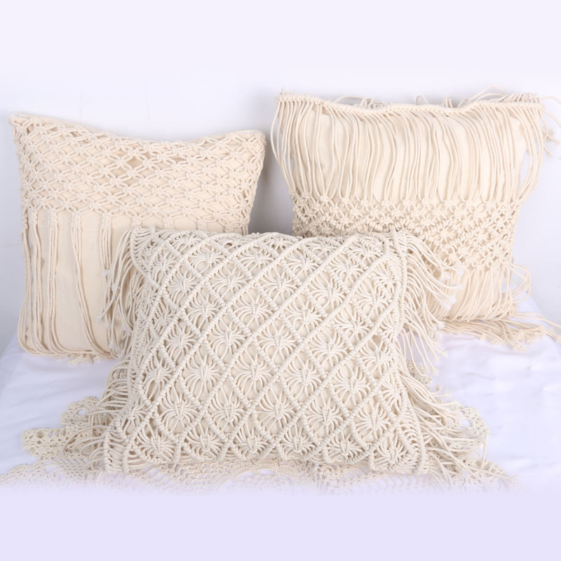 1 Pc White Handmade Woven Cushion Square Macrame Boho Tassels Bed Living Room   FPing