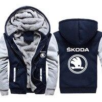 Hoodies Men Skoda Car Logo Print Jacket Mens Hoodies Casual Winter Thicken Warm Fleece cotton Zipper Raglan Coat Male Tracksuits