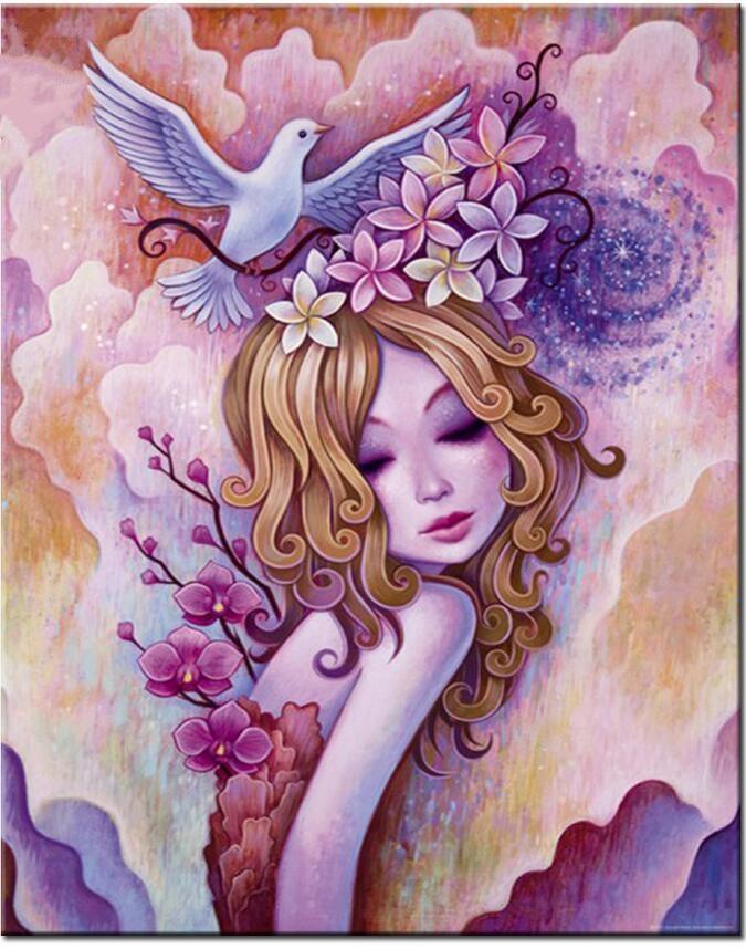 5D Вышивка с кристаллами полный горный хрусталь алмаз Вышивка Кристалл площади девушка голуби Алмазная мозаика ремесел дома decorat