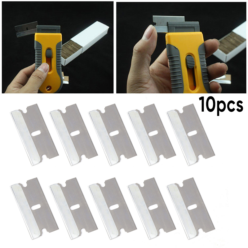 10x Metal Razor Scraper Blades Single Edge Box Cutter Car Window Glass Practical For Glue Sticker Film Paint Ceramic Floor