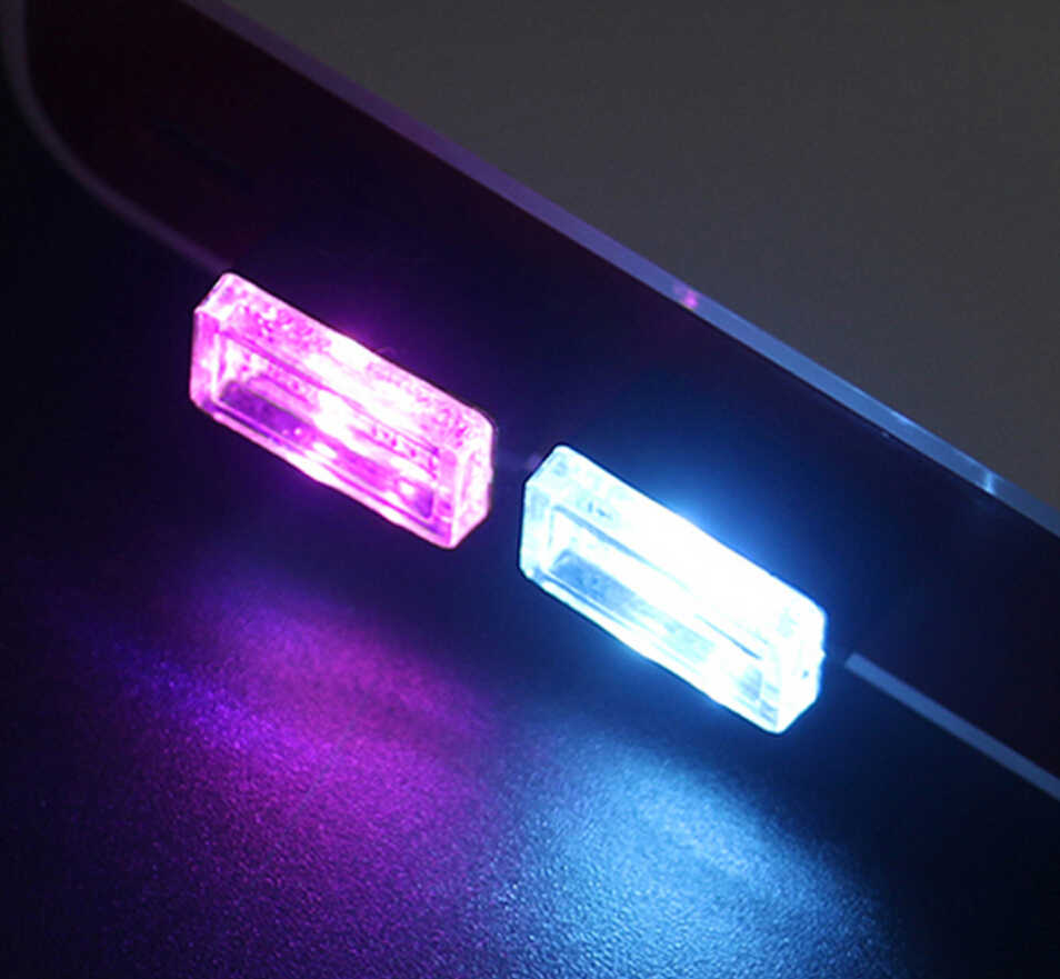 Автомобилей Атмосфера Огни 1 шт Mini USB светодиодный салона свет красочный Неон атмосферу лампа с рассеянным светом красный/синий/белый/фиолетовый