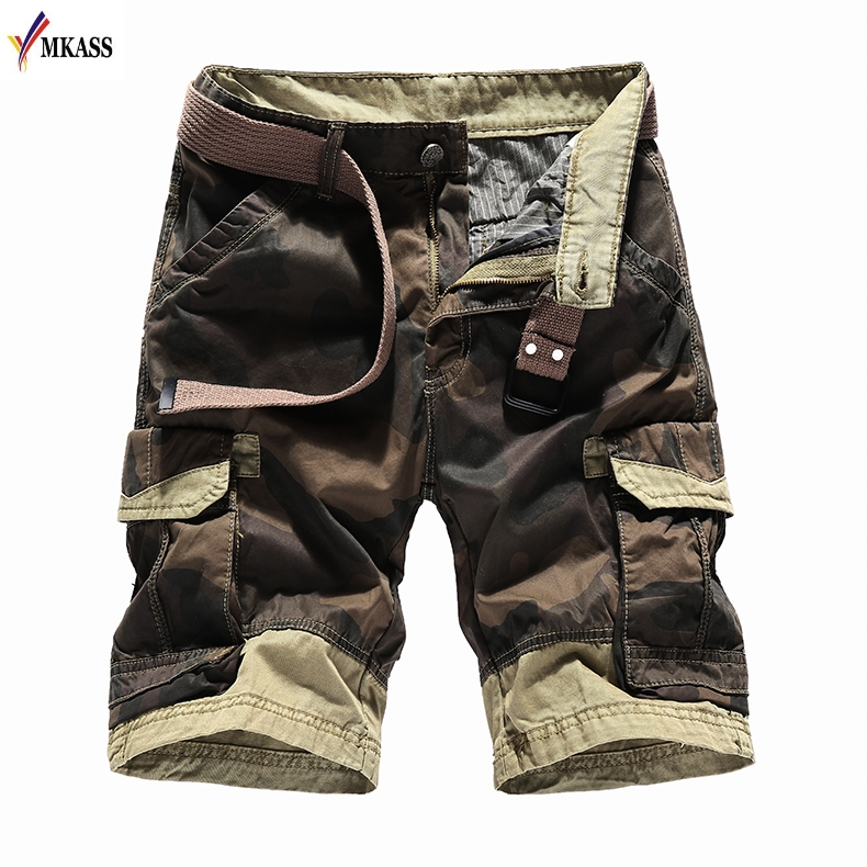 Mens Camouflage Camo Cargo Shorts New Mens Casual 100% Cotton Shorts Male Loose Work Shorts Man Military Short Pants Plus Size