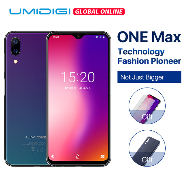 "UMIDIGI One Max Global Vertion 4GB 128GB 6.3"" Waterdrop Full-Screen 4150mAh Dual Camera Smartphone NFC Wireless Charger Face ID"